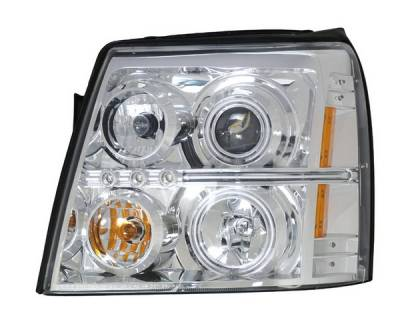 Headlights & Tail Lights - Headlights - Anzo - Cadillac Escalade Anzo Projector Headlights - Halo Chrome & Clear Amber- CCFL - 111143
