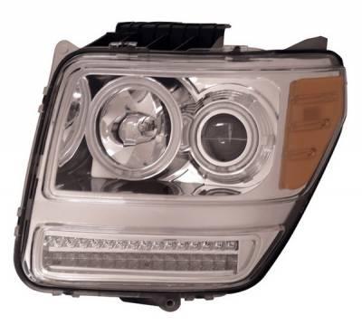 Headlights & Tail Lights - Headlights - Anzo - Dodge Nitro Anzo Projector Headlights - G2 Halo Chrome & Clear Amber- CCFL - 111144