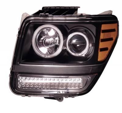 Headlights & Tail Lights - Headlights - Anzo - Dodge Nitro Anzo Projector Headlights - G2 Halo Black & Clear Amber- CCFL - 111145