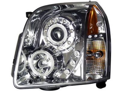 Headlights & Tail Lights - Headlights - Anzo - GMC Yukon Anzo Projector Headlights - Halo Chrome & Clear Amber - CCFL - 111147