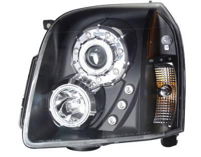 Headlights & Tail Lights - Headlights - Anzo - GMC Yukon Anzo Projector Headlights - Halo Black & Clear & Amber - CCFL - 111148