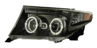 Headlights & Tail Lights - Headlights - Anzo - Toyota Land Cruiser Anzo Projector Headlights - Halo Black & Clear & Amber - CCFL - 111150