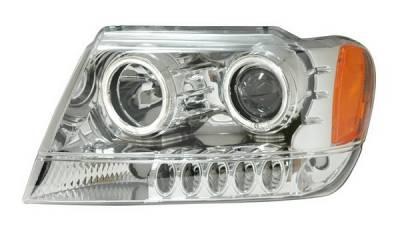 Headlights & Tail Lights - Headlights - Anzo - Jeep Grand Cherokee Anzo Projector Headlights - Halo Chrome & Clear Amber - CCFL - 111157
