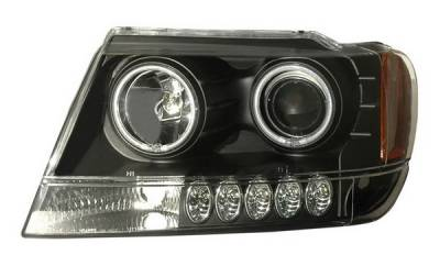 Headlights & Tail Lights - Headlights - Anzo - Jeep Grand Cherokee Anzo Projector Headlights - Halo Black & Clear & Amber - CCFL - 111158