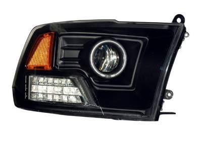 Headlights & Tail Lights - Headlights - Anzo - Dodge Ram Anzo Projector Headlights - Halo Black & Clear & Amber - CCFL - 111159