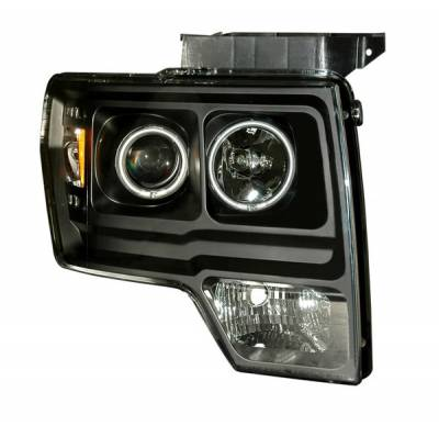 Headlights & Tail Lights - Headlights - Anzo - Ford F150 Anzo Projector Headlights - Halo Black & Clear & Amber - CCFL - 111161