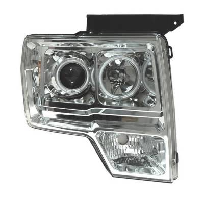 Headlights & Tail Lights - Headlights - Anzo - Ford F150 Anzo Projector Headlights - Halo Chrome & Clear Amber - CCFL - 111162