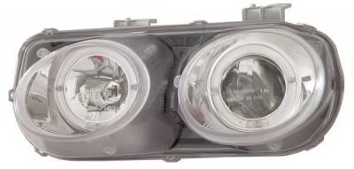 Headlights & Tail Lights - Headlights - Anzo - Acura Integra Anzo Projector Headlights - with Halo Chrome - 121006