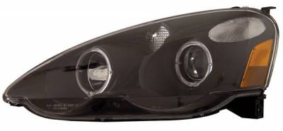 Headlights & Tail Lights - Headlights - Anzo - Acura RSX Anzo Projector Headlights - with Halo Black - 121007