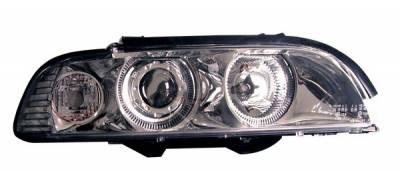 Headlights & Tail Lights - Headlights - Anzo - BMW 5 Series Anzo Projector Headlights - Chrome & Clear with Halos - 121018