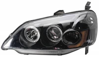 Headlights & Tail Lights - Headlights - Anzo - Honda Civic 2DR & 4DR Anzo Projector Headlights - with Halo Black - 121055