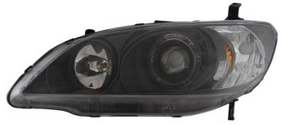 Headlights & Tail Lights - Headlights - Anzo - Honda Civic 2DR & 4DR Anzo Projector Headlights - with Halo Black - 121059