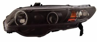 Headlights & Tail Lights - Headlights - Anzo - Honda Civic 2DR Anzo Projector Headlights - with Halo Black - 121062