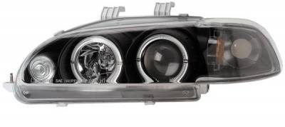Headlights & Tail Lights - Headlights - Anzo - Honda Civic 2DR Anzo Projector Headlights - with Halo Black - 1PC - 121063