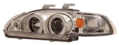 Headlights & Tail Lights - Headlights - Anzo - Honda Civic 4DR Anzo Projector Headlights - with Halo Chrome - 1PC - 121066