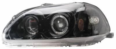Headlights & Tail Lights - Headlights - Anzo - Honda Civic Anzo Projector Headlights - with Halo Black - 121068