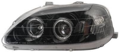 Headlights & Tail Lights - Headlights - Anzo - Honda Civic Anzo Projector Headlights - with Halo Black - 121071