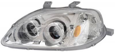 Headlights & Tail Lights - Headlights - Anzo - Honda Civic Anzo Projector Headlights - with Halo Chrome - 121072