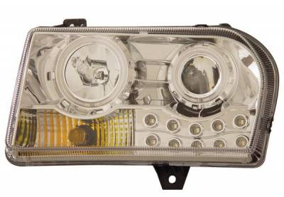 Headlights & Tail Lights - Headlights - Anzo - Chrysler 300 Anzo Projector Headlights - with Halo - Chrome & Clear with Amber Reflectors - 121136