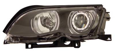 Headlights & Tail Lights - Headlights - Anzo - BMW 3 Series 4DR Anzo Projector Headlights - Black with Halo - 121140