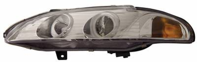 Headlights & Tail Lights - Headlights - Anzo - Mitsubishi Eclipse Anzo Projector Headlights - with Halo - Chrome & Clear with Amber Reflectors - 121149