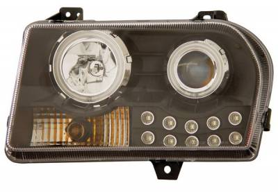 Headlights & Tail Lights - Headlights - Anzo - Chrysler 300 Anzo Projector Headlights - with Halo - Black & Clear with Amber Reflectors - 121152