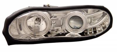 Headlights & Tail Lights - Headlights - Anzo - Chevrolet Camaro Anzo Projector Headlights - with Halo - Chrome & Clear with Amber Reflectors - 121159