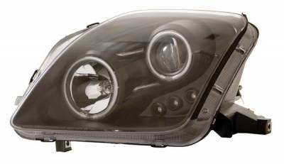 Headlights & Tail Lights - Headlights - Anzo - Honda Prelude Anzo Projector Headlights - with Halo - Black & Clear with Amber Reflectors - 121164