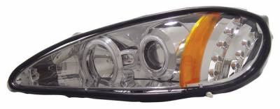 Headlights & Tail Lights - Headlights - Anzo - Pontiac Grand Am Anzo Projector Headlights - with Halo - Chrome & Clear with Amber Reflectors - 121167