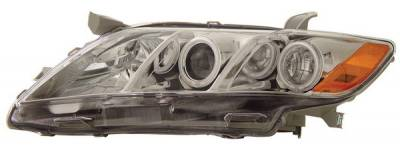 Headlights & Tail Lights - Headlights - Anzo - Toyota Camry Anzo Projector Headlights - with Halo - Chrome & Clear with Amber Reflectors - 121180
