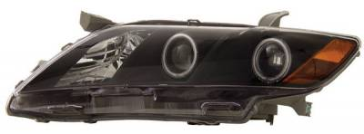 Headlights & Tail Lights - Headlights - Anzo - Toyota Camry Anzo Projector Headlights - with Halo - Black & Clear with Amber Reflectors - 121181