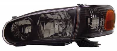 Headlights & Tail Lights - Headlights - Anzo - Toyota Corolla Anzo Headlights - Black with Amber Reflectors - 121182