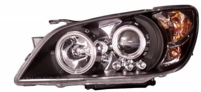 Headlights & Tail Lights - Headlights - Anzo - Lexus IS Anzo Projector Headlights - Black & Clear with Halos - 121199