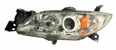 Headlights & Tail Lights - Headlights - Anzo - Mazda 3 4DR Anzo Projector Headlights - Chrome & Clear with Halos - 121211