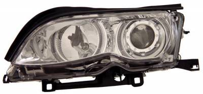 Headlights & Tail Lights - Headlights - Anzo - BMW 3 Series 4DR Anzo Projector Headlights - Chrome & Clear with Halos - 121212