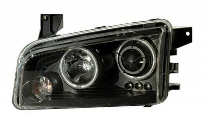 Headlights & Tail Lights - Headlights - Anzo - Dodge Charger Anzo Projector Headlights - Black & Clear with Halos - 121218