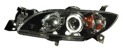 Headlights & Tail Lights - Headlights - Anzo - Mazda 3 4DR Anzo Projector Headlights - Halo Black & Clear & Amber- CCFL - 121228