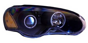 Headlights & Tail Lights - Headlights - Anzo - Chrysler Sebring 2DR Anzo Projector Headlights - Black & Clear with Halos - 121230