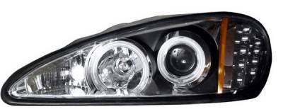 Headlights & Tail Lights - Headlights - Anzo - Pontiac Grand Am Anzo Projector Headlights - Black & Clear with Halos - 121233