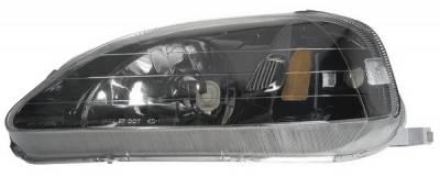 Headlights & Tail Lights - Headlights - Anzo - Honda Civic Anzo Headlights - Gun-Metal & Crystal Clear - 121234