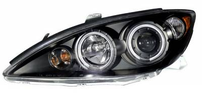 Headlights & Tail Lights - Headlights - Anzo - Toyota Camry Anzo Projector Headlights - Halo Black & Clear & Amber - 121245