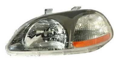 Headlights & Tail Lights - Headlights - Anzo - Honda Civic Anzo Headlights - Crystal & Gun Metal & Amber Reflector - 121248