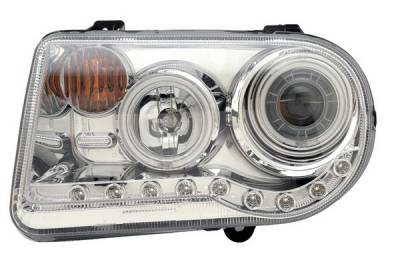 Headlights & Tail Lights - Headlights - Anzo - Chrysler 300 Anzo Projector Headlights - G2 Halo Chrome & Clear Amber- CCFL - 121250