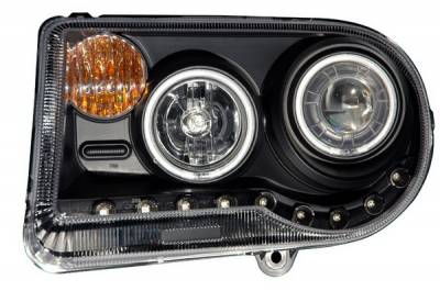 Headlights & Tail Lights - Headlights - Anzo - Chrysler 300 Anzo Projector Headlights - G2 Halo Black & Clear Amber- CCFL - 121251