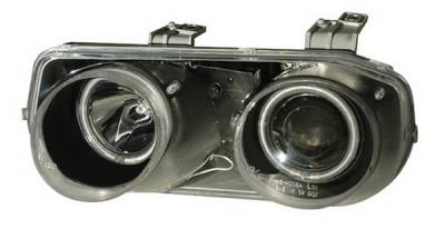 Headlights & Tail Lights - Headlights - Anzo - Acura Integra Anzo Projector Headlights - Halo Black & Clear & Amber - CCFL - 121255