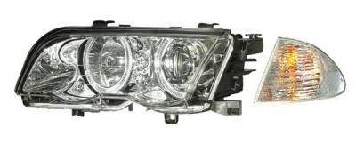 Headlights & Tail Lights - Headlights - Anzo - BMW 3 Series 4DR Anzo Projector Headlights - Halo Chrome & Clear Amber- CCFL - 121260