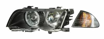 Headlights & Tail Lights - Headlights - Anzo - BMW 3 Series 4DR Anzo Projector Headlights - Halo Black & Clear & Amber- CCFL - 121261