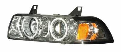 Headlights & Tail Lights - Headlights - Anzo - BMW 3 Series 2DR Anzo Projector Headlights - G2 Halo Chrome & Clear with Amber - 1PC - 121264