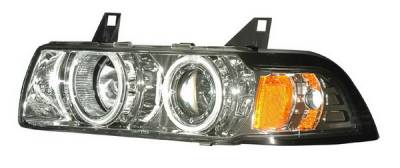 Headlights & Tail Lights - Headlights - Anzo - BMW 3 Series 4DR Anzo Projector Headlights - G2 Halo Chrome & Clear with Amber - 1PC - 121266