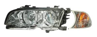 Headlights & Tail Lights - Headlights - Anzo - BMW 3 Series 2DR Anzo Projector Headlights - with Halo Chrome & Clear with Amber - 121268